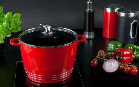Die-cast Casserole Stock Pot Glass Lid black 24cm