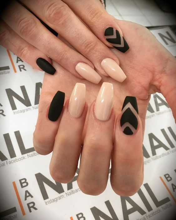 "Nail Bar on Instagram: ""Matte black and nude  #nailart #nailartclub #nailartoohlala #nails #instanails #nailstagram #nailitdaily #nailartaddict #nailartjunkie…"""
