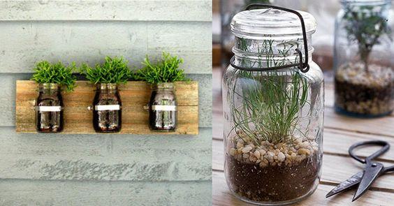 Frascos de vidrio reciclados