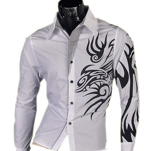 Details about Jeansian Mens Casual Dress Shirts Tops Slim Fashion ...