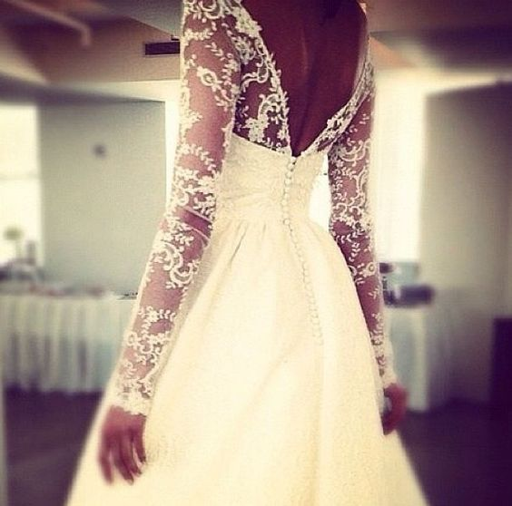 Long sleeve lace wedding dress. good for a winter wedding