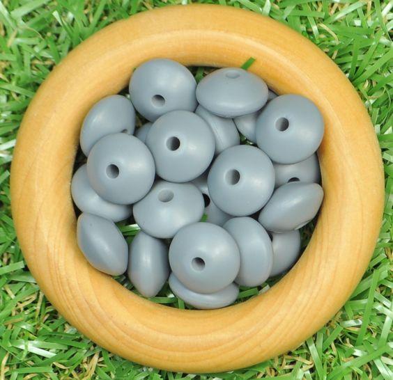 Saucer Silicone Bead 20pk - Dim Grey - Silicone Beads Australia™