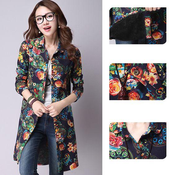 2015 Autumn Winter Women Long Sleeve Cotton Linen Blouse Floral Print Blusas Laides Vintage Elegant Long Shirts Plus Size