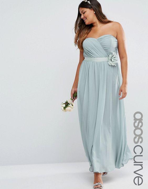 Image 1 ofASOS CURVE WEDDING Chiffon Maxi Dress with Corsage
