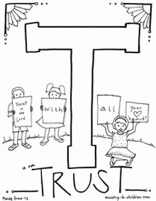 """""""T is for Trusting God"""" coloring page"""