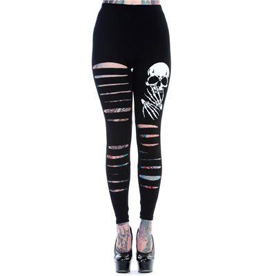 Skeleton leggings with skull - Banned   http://www.attitudeholland.nl/haar/kleding/broeken/leggings/skull-rip-leggings-black-white/