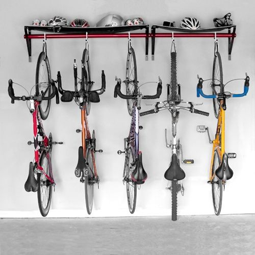 Bike Storage In Shed Using Old White Laundry Room Shelving