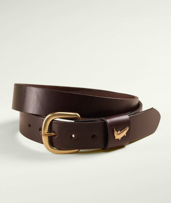 """""""Leather Field Belt, Trout""""     $49.00"""