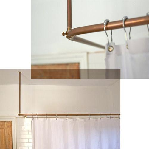 Copper Curtain Rod Interior Beautiful L Shaped Shower Curtain Rod Sets Copper Shower Curtain Rod Diy Copper Diy Shower Curtain Diy Curtain Rods Bathroom Decor