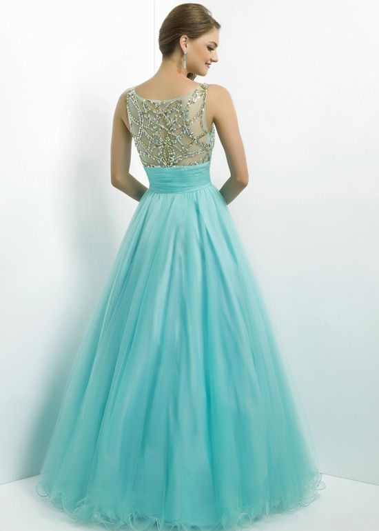 Pink by Blush 5325 - Aqua/Gold Beaded Ball Gown Prom Dresses ...