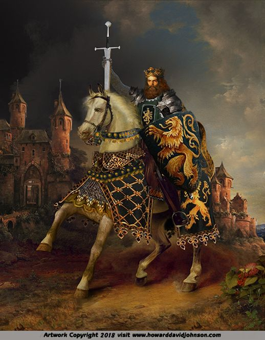 king on white horse free shipping HAND PAINTED Oil painting ART Two Crowns