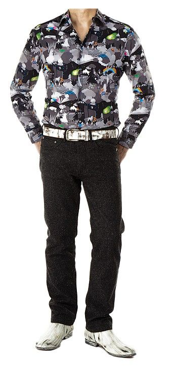"""Kurt (Played by Chris Colfer) cityscape graphic shirt and jeans. (Season 6) Cityscape graphic shirt, black jeans, and accessories ensemble worn by Kurt (Played by Chris Colfer) in Episode 5: """"The Hurt Locker, Pt. 2"""