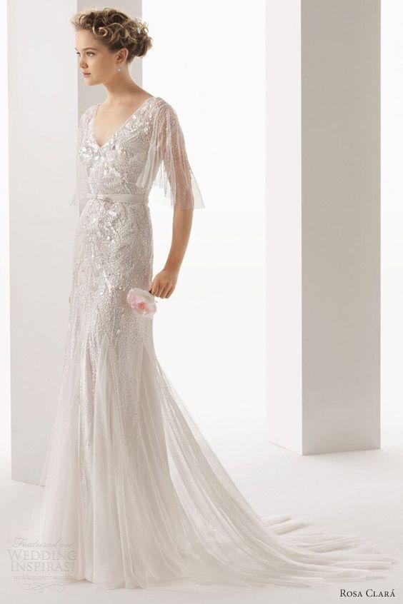 Rosa Clara embellished dress with flutter sleeves // The Wedding Scoop Spotlight: Sparkly Wedding Dresses - Part 1