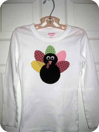 Easy  (No-Sew) Applique Turkey Thanksgiving Shirt - love it!!  Tutorial!