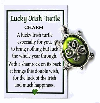 Lucky Irish Turtle and Shamrock Charm