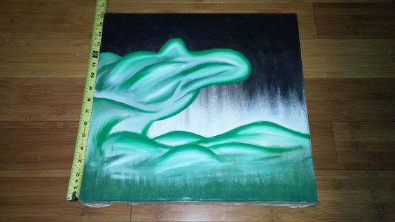 Green~Water canvas painting