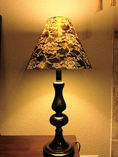 #DIY spray paint & lace. revamp a lamp!: