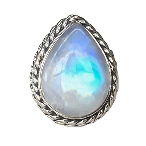 WensLTD/_ 1PC Boho Jewelry Silver Natural Gemstone Marquise Moonstone Personalized Ring