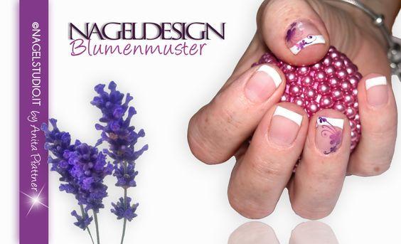 UV Permanent Nagellack Shellac Nageldesign French Nailart Blumenmuster
