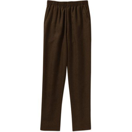 Donnkenny Women's Pull-on 2 Pocket Pant, Petite, Size: 14P, Brown