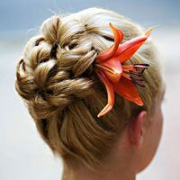 Pin-curl Updo With Flower