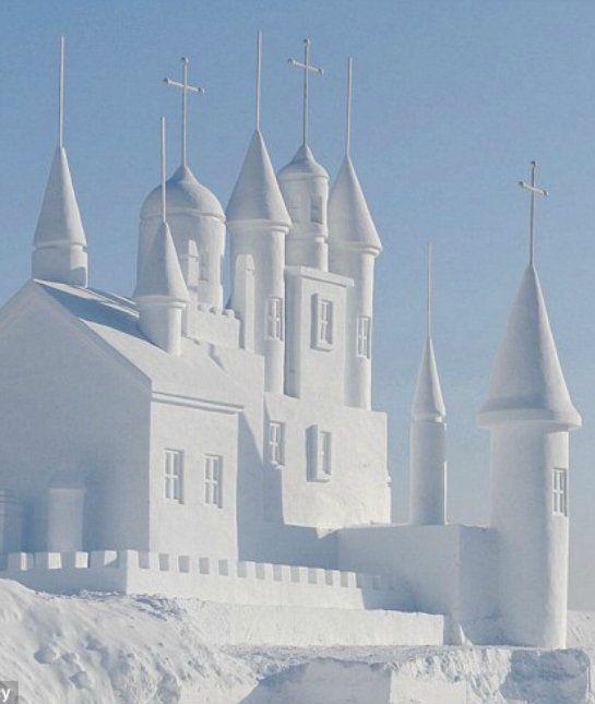 church snow sculpture #snowSculpture #snow #winter #sculpture #castle