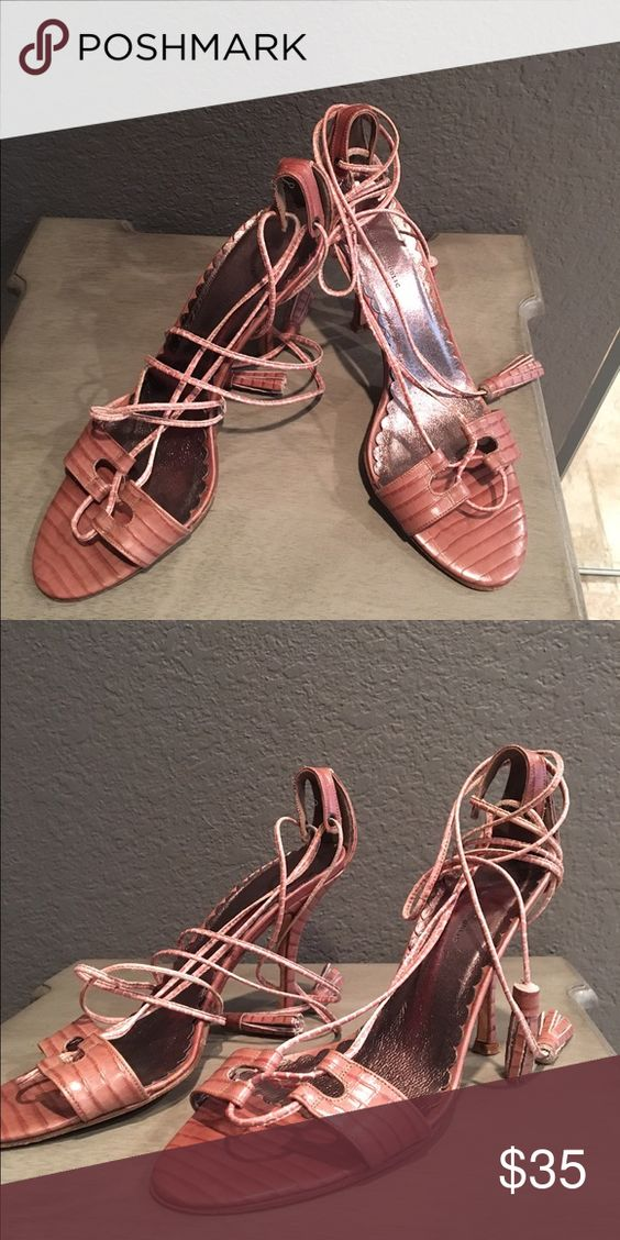 Fun heels with long strap Banana republic pretty heels. Love love the strap . It is long and can give you the gladiator look. Or it can rap up shorter and give more dressy look.great condition !!the color is just as pic shown , beautiful brownish pink. Banana Republic Shoes Sandals
