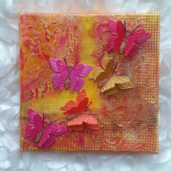 """Warm Butterflies Mixed Media Art  -  6""""x6"""" by XenasRevenge on Etsy"""