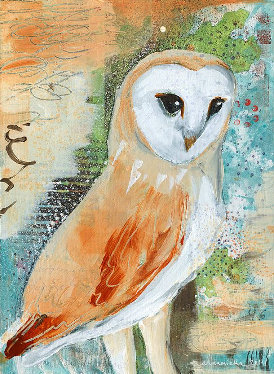 "Print of ""Barn Owl"" Original Painting -- White, Brown, Fawn, Rust, Green, Blue, Lichen, Detailed Owl Mixed Media Painting"