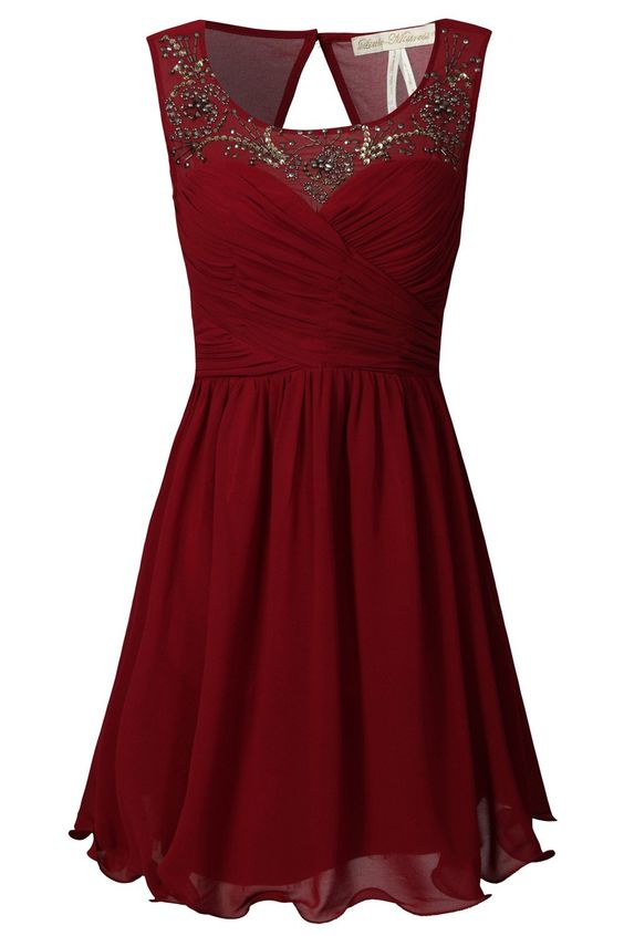 Little-Mistress Red Embellished Neckline Prom Dress.  Possibly with #BananaRepublc Silver screen scatter ring.  #BRAnnaK