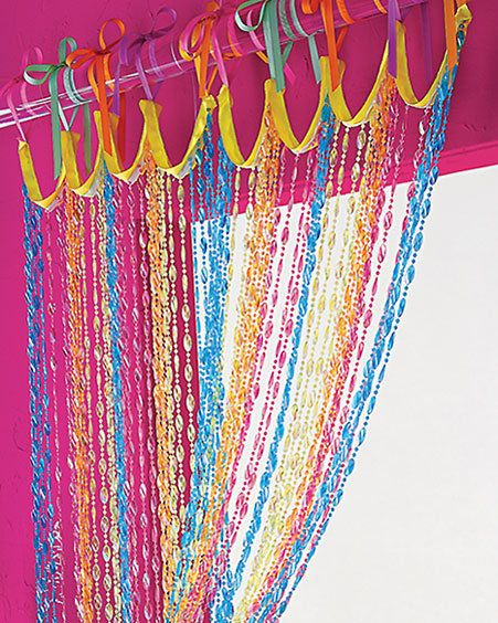 Rainbow Color Creative Art, all those mardi gras beads in TKO's room.