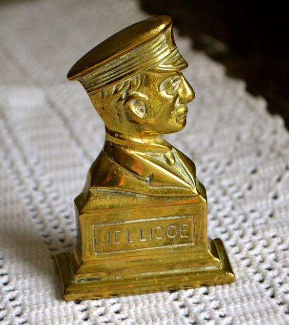 Vintage Brass Bust Profile of Jellicoe of the Royal Navy by StudioVintage on Etsy