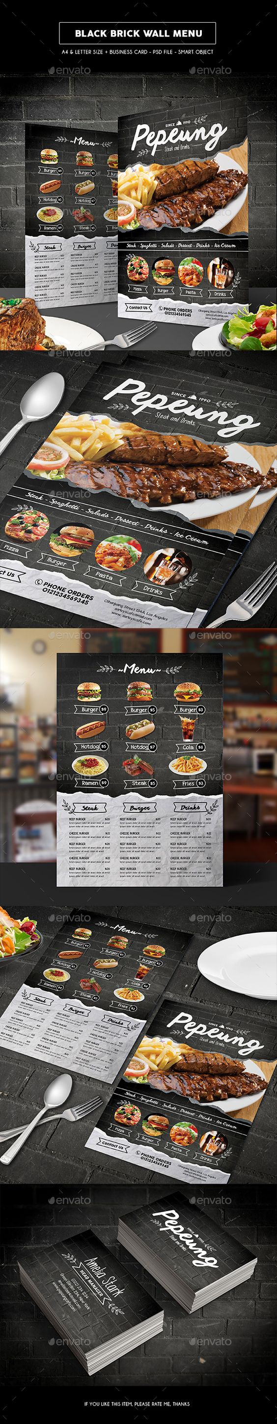 Black Brick Wall Menu Template PSD #design Download: http://graphicriver.net/item/black-brick-wall-menu/13631337?ref=ksioks