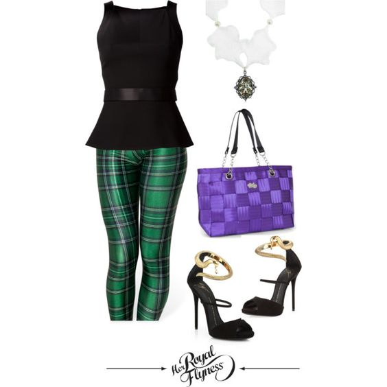 """""""Chic St Patrick's Day 3"""" by herroyalflyness on Polyvore #fashion #outfit #leggings #tartan #purplebag"""