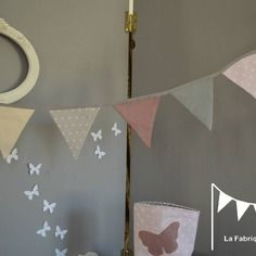 banderole guirlande de fanions rose poudr gris clair crme et vieux rose dcoration chambre enfant - Guirlande Fanion Chambre Bebe