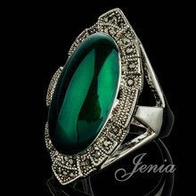 JENIA High Quality Retro Oval Stone Ring for Women Antique 18K White Gold Plated Marcasite Green Ring XR259