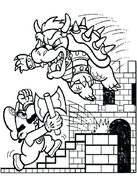 Bowser Castle Coloring Pages Ausmalen Ausmalbilder Malbuch Vorlagen
