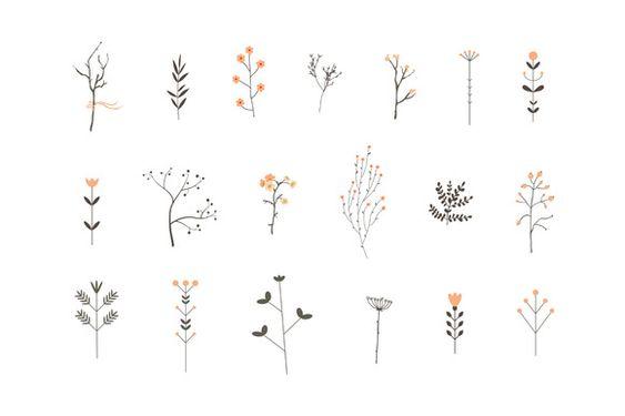 Romantic Branches Vector Set by Lera Efremova on Creative Market