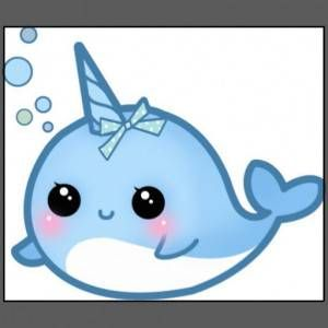 Cartoon Baby Narwhal -...
