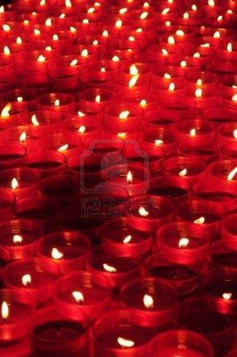 Nothing says bright red like a floating sea of red candles.