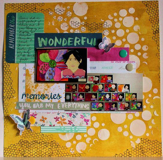 Scrapbook Flair: Wonderful Memories Layout with WRMK Inked Rose