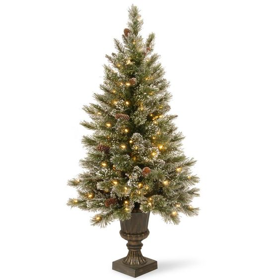 National Tree Company 5 ft. Glittery Bristle Entrance Artificial Christmas Tree with Clear Lights-GB3-306-50 - The Home Depot