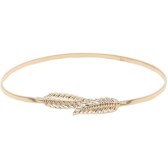 Leaf Buckle Golden Metal Elastic Belt (€5,42) ❤ liked on Polyvore featuring accessories, belts, gold, buckle belt, golden belt, gold belts and gold buckle belt