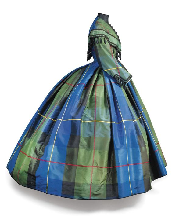 """Plaid silk dress, late 1860s, auctioned at Christie's. From Plaid Petticoats: """"The Glare and Glitter is Brutal"""": Chemical Dyes and Plaids of the Mid-19th Century:"""
