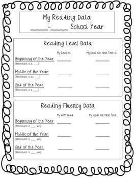 If you have your students keep Data Notebooks, this is a must have! It is a simple sheet for students to record their growth as a reader from the beginning of the year to the end of the year. There is a place for them to put their Fluency level and a place for them to record their Reading (Running Record) benchmark Level. No matter what assessment tool your school/district is using, this will work for you. Enjoy!