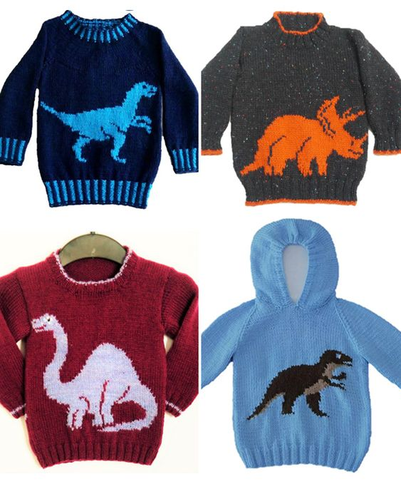 Knitting Pattern For Dinosaur Sweaters For Babies And Children Pullovers And Hood Baby Sweater Knitting Pattern Baby Boy Knitting Patterns Knit Baby Sweaters