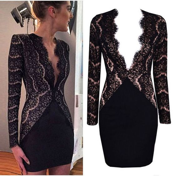 Sexy Deep V neck Eyelash Lace Shoulder Pads Bodycon Party Business Dress 8 10