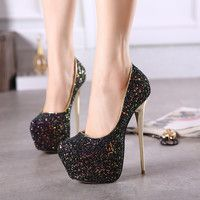 Glaring Sky-high Glitter Platform Stiletto Heels