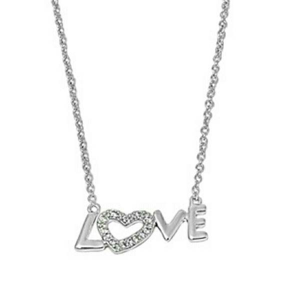 Sterling silver Love necklace w CZ Sterling silver 925 hallmark Jewelry Necklaces