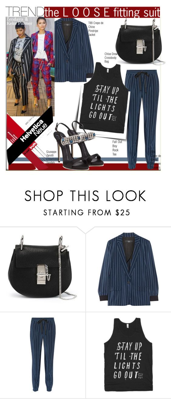 """Trend:Loose Fitting Suit with Keke Palmer & Zendaya"" by nfabjoy ❤ liked on Polyvore featuring Chloé, TIBI, zendaya, suit, kekepalmer and trendreport"